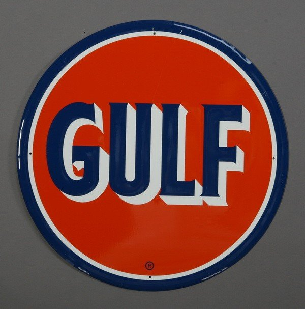 160: Gulf brand painted metal sign