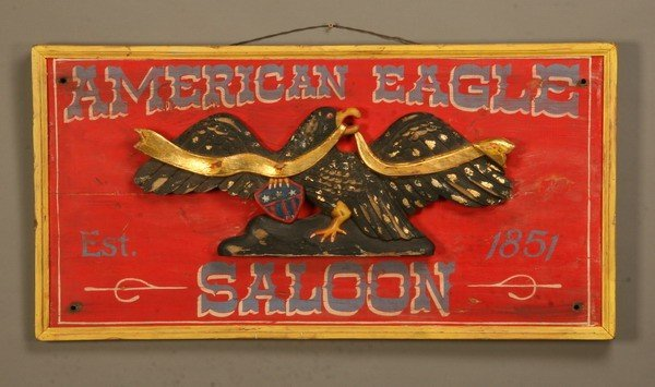 167: Vintage-style carved advertising sign