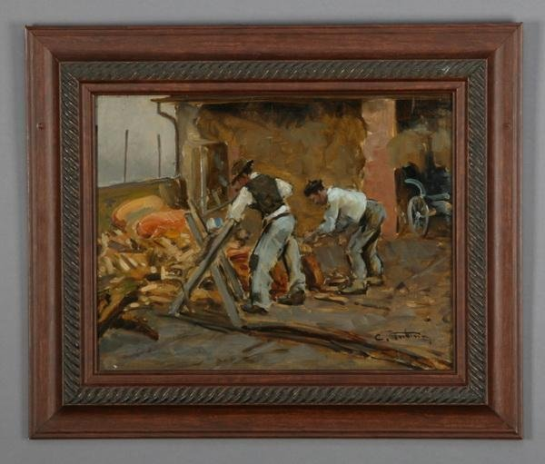 250: Early 20th c. oil on panel, signed Tubino