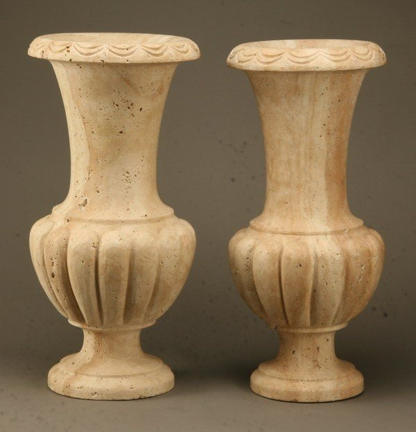 261: Pair of carved stone urns