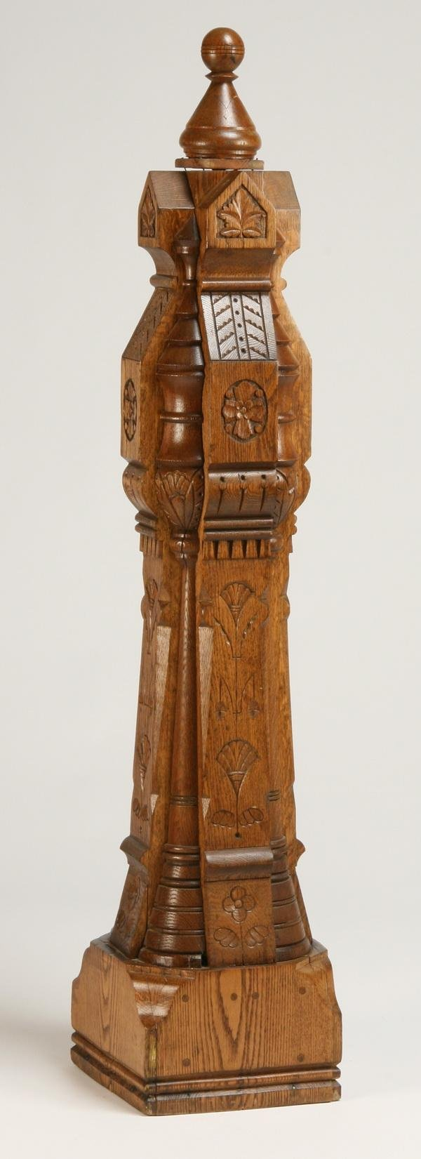 262: 19th c. carved oak newell post