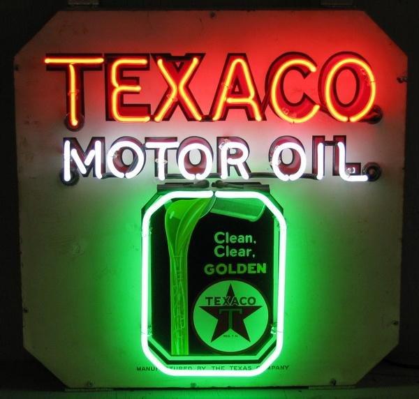 513: Rare Texaco Motor Oil porcelain and neon sign