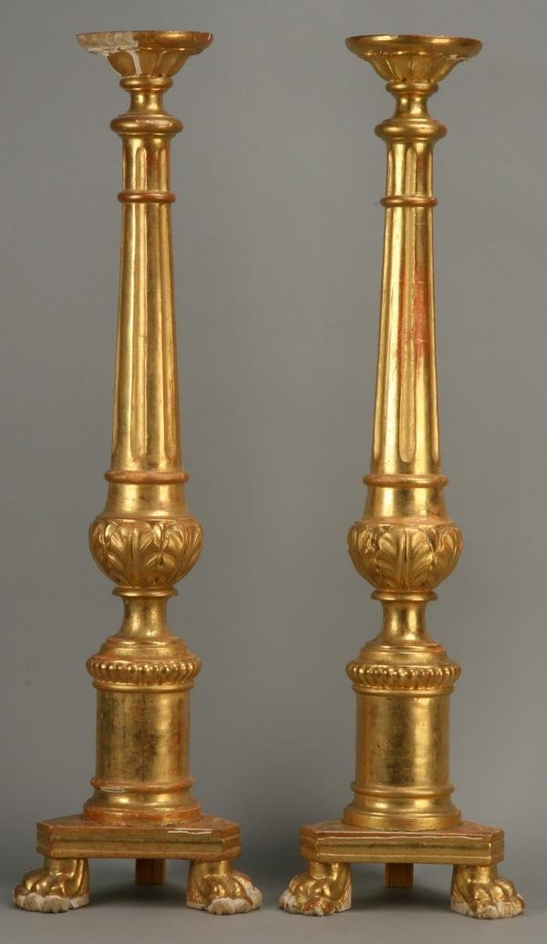 "1: Pair of 19th c. giltwood candlesticks, 43""h"
