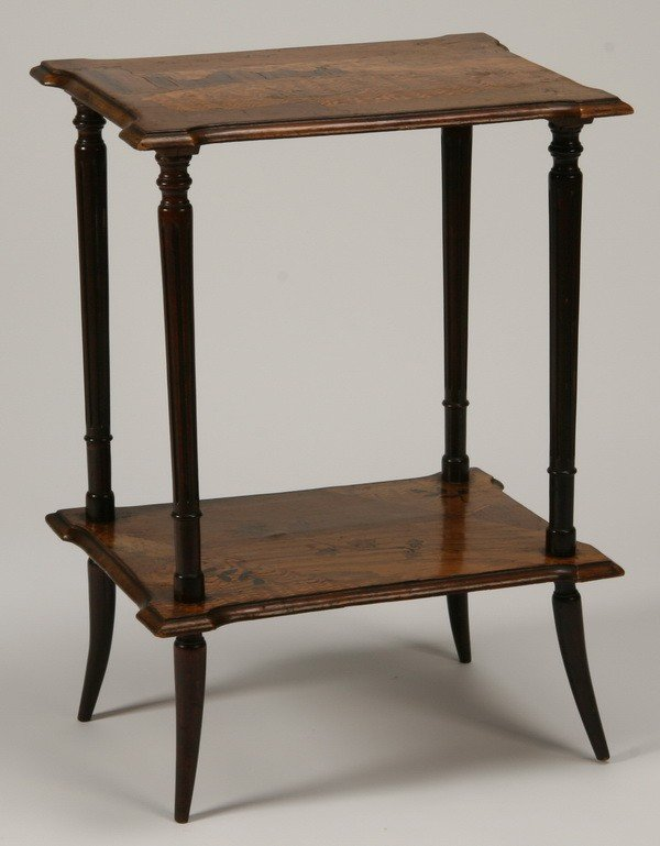 2: 19th c. French Art Nouveau inlaid side table