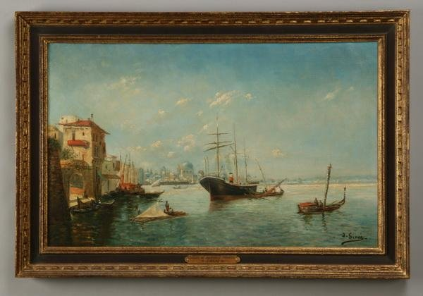 5: 19th c. oil on canvas, signed Siani