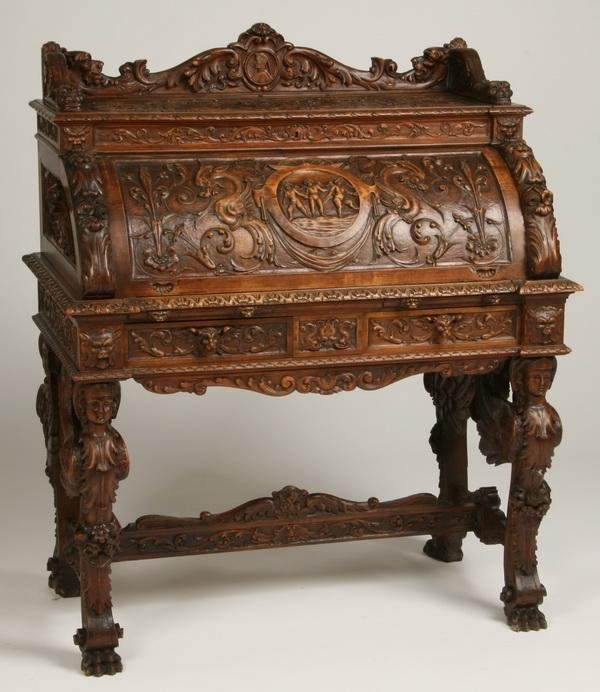 7: 19th c. Venetian carved writing desk