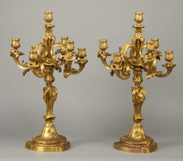 44: 19th c. dore' bronze candelabra attr to Linke