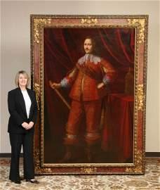 111: Monumental 17th c. oil on canvas portrait