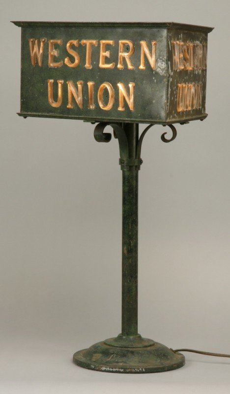 3: Patinated bronze Western Union lighted sign