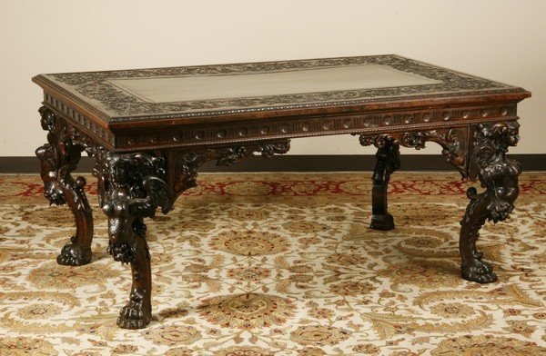 4: 19th c. Italian carved black walnut table