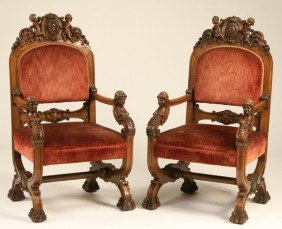 5: (2) 19th c. American carved walnut arm chairs
