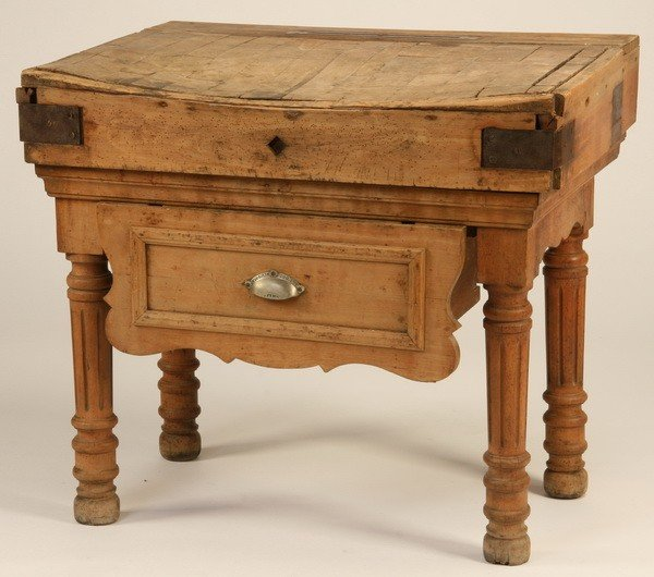 6: 19th c. French oak butcher block