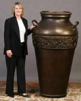 8: Monumental double handled faux bronze urn