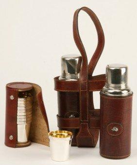 12: Gentlemen's decanters w/ cups and case