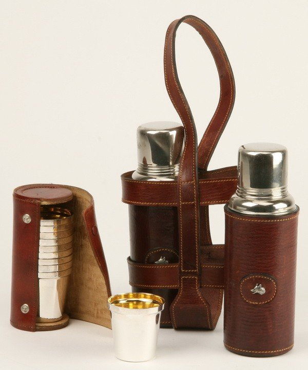 12: Gentlemen's decanters w/ cups and case