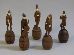 13: (5) 19th c. carved walnut and ivory minstrels