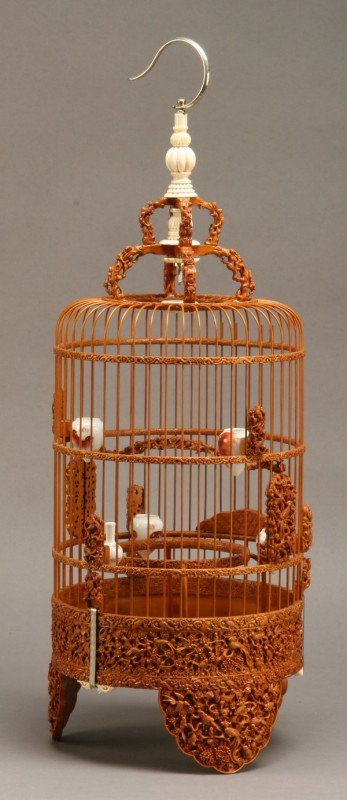18: Early 20th c. carved birdcage w/ ivory