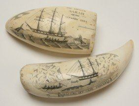 Pair Of 19th C. Whale Tooth Scrimshaw