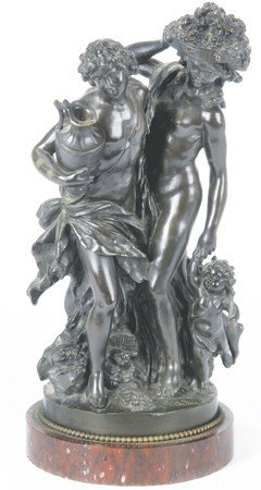 22: 19th c. bronze sculpture, signed Clodion