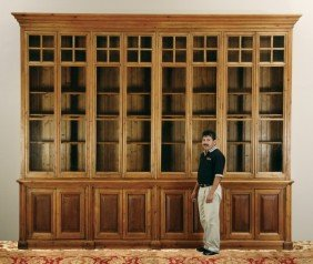 26: Monumental 20th c. English pine bookcase