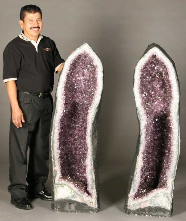 """305: (2) Monumental cathedral amethyst geodes, 53"""""""