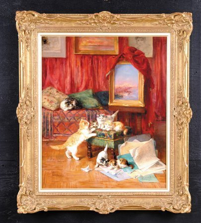 25: Yo Laur 19th c French Oil/Canvas Kittens Signed