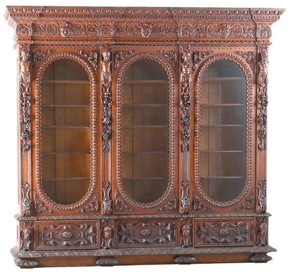 22: 19th c Quarter Sawn Oak Relief Carved Bookcase