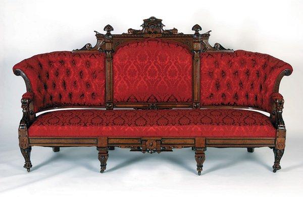 16: Renaissance Revival Pottier Stymus Mahogany Sofa