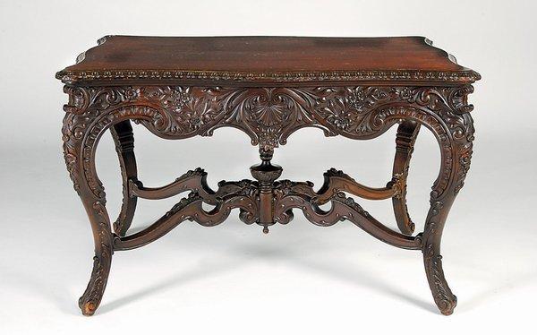 14: RJ Horner 19th c Cuban Mahogany Carved Table