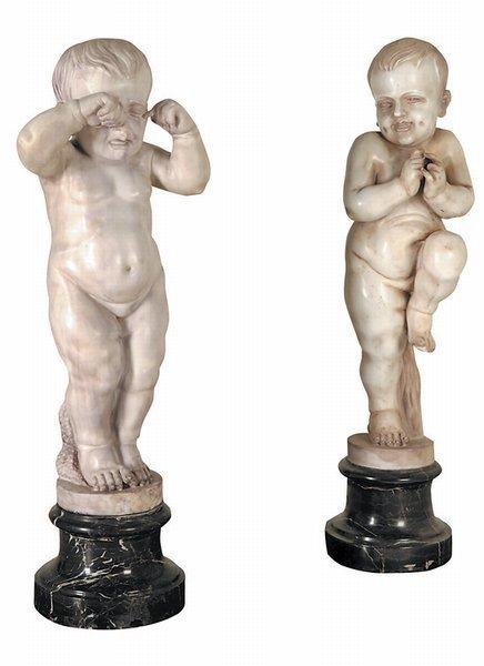 12: Pair 19th c Carrara Marble Putti Cherubs Statues