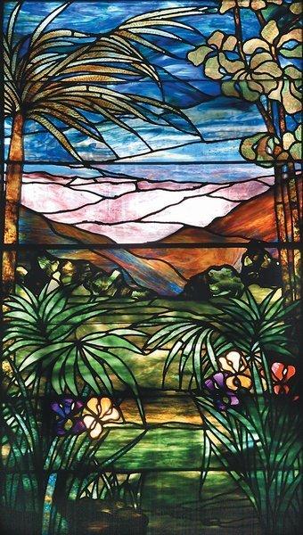 18: Tropical Stained Glass Window Attrib Lamb Studios