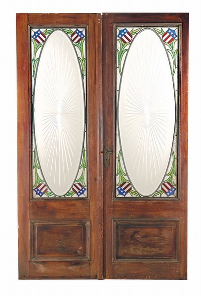 27: 19th c Stained Glass American Flag Antique Doors
