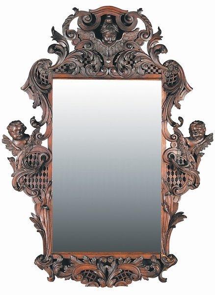 11: German Baroque Black Walnut Pierce Carved Mirror