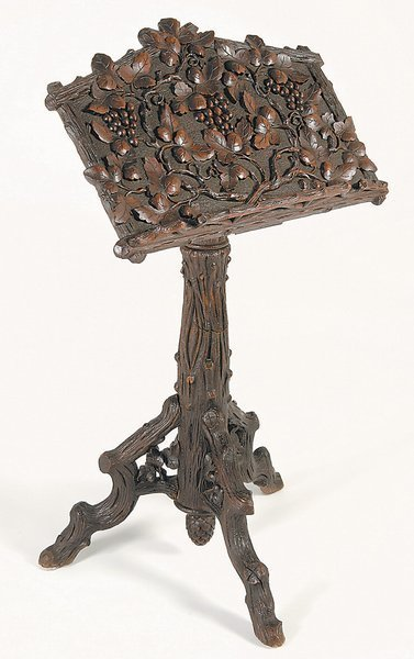 123: Black Forest Carved Music Stand / Lecturn Antique