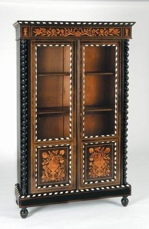 20: 19th c Dutch Marquetry Bookcase Ebony Ivory Trim