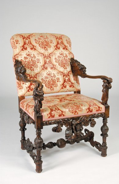 10: 19th c Carved Walnut Figural Chair Neoclassic