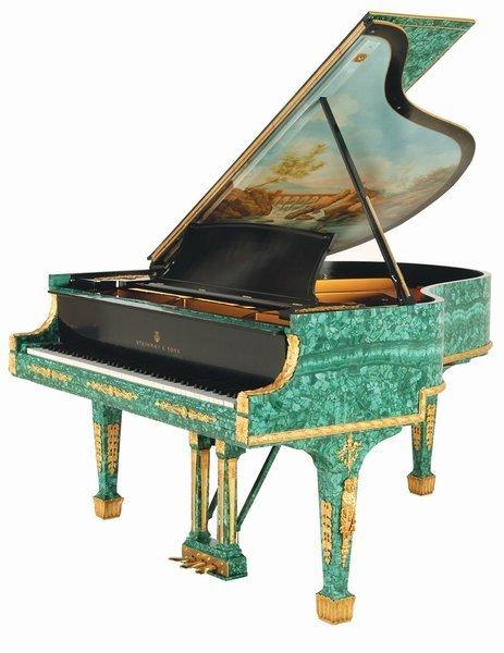 160: Steinway Baby Grand Piano of Russian Malachite