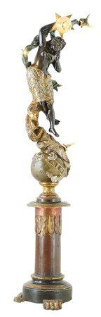 23: 19th c Art Nouveau Venetian Blackamoor Torchere