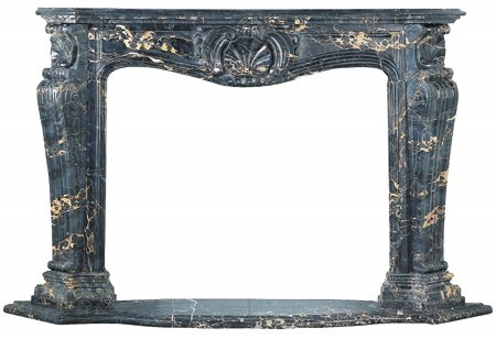 39: 19th c Marble Louis XV Fireplace Mantle Antique