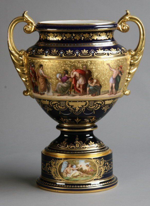 4: 19th c. porcelain urn, marked Royal Vienna