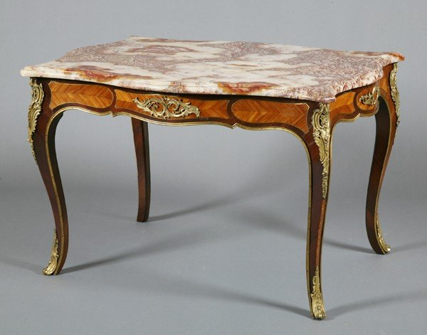 6: 19th c. rosewood table with exotic stone top