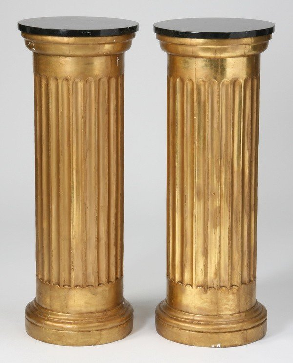10: (2) 19th c. gold gilt marble top pedestals