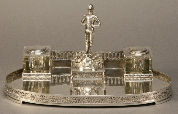 15: Equestrian themed silverplate inkwell