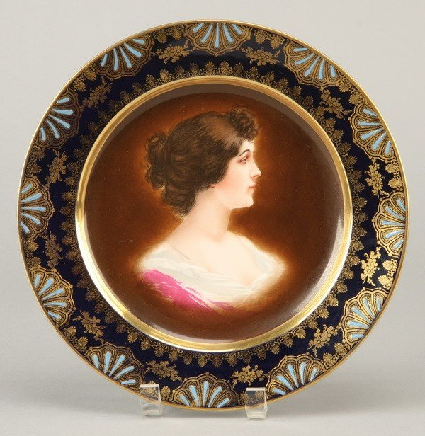 5: 19th c. portrait plate, marked Royal Vienna