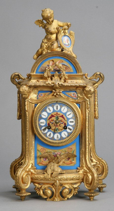 7: 19th c. bronze and Sevres porcelain clock