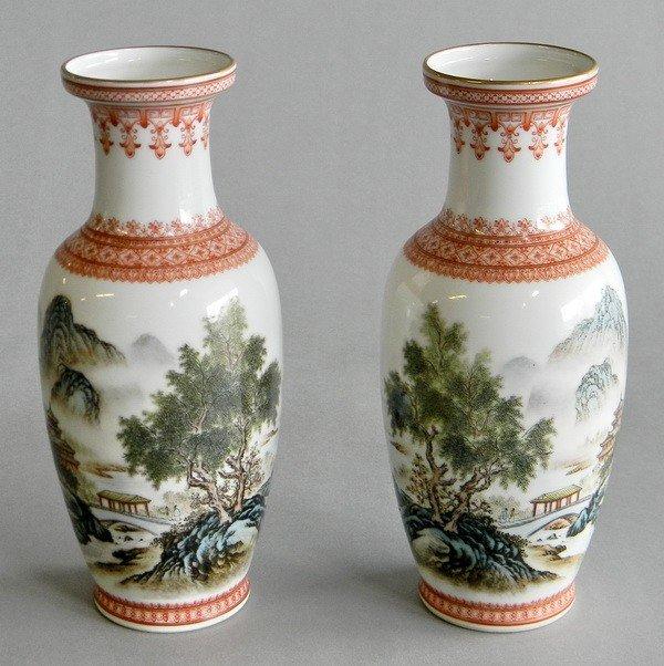 13: (2) Republic Period Chinese porcelain vases