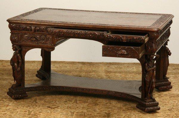 15: 19th c. carved oak partner's desk