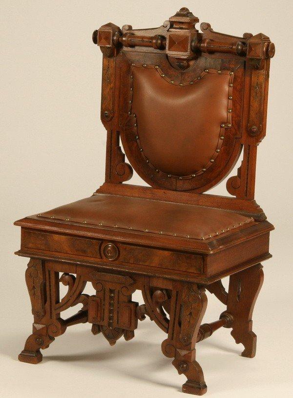 16: 19th c. American burl walnut side chair
