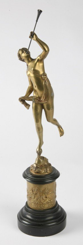 24: 19th c. bronze sculpture on marble base