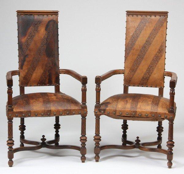 120: (2) 19th c. carved walnut Italian arm chairs